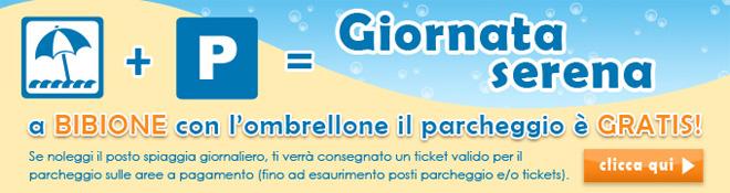 Prenota l'ombrellone, il posteggio è gratis.